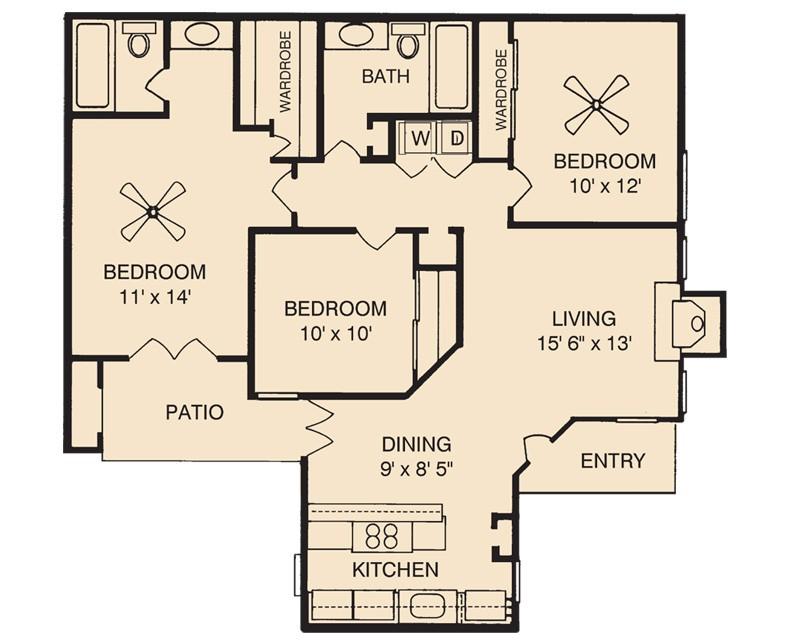 1,188 sq. ft. C floor plan