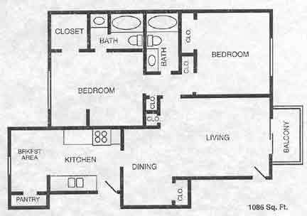 1,086 sq. ft. B3 floor plan