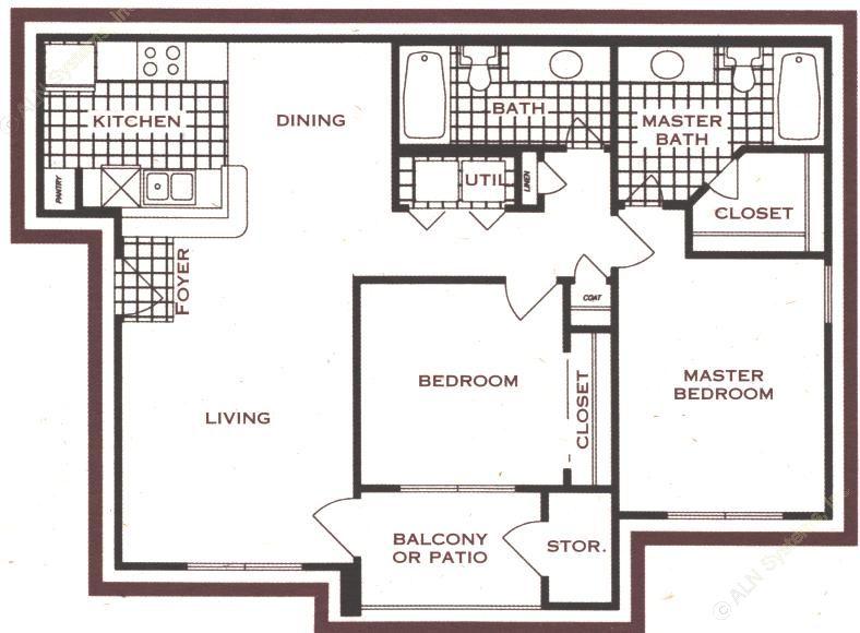 966 sq. ft. floor plan
