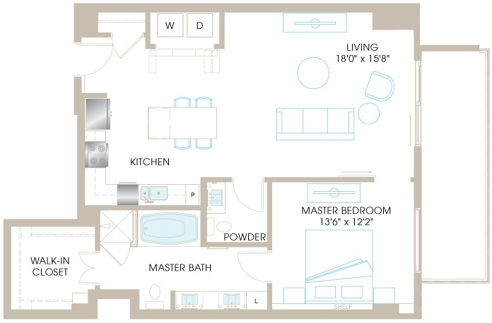 1,012 sq. ft. A6 floor plan