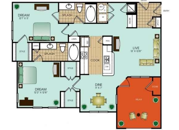 1,193 sq. ft. B11 floor plan