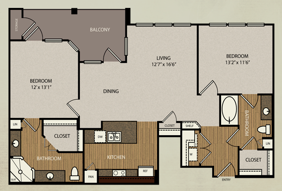 1,154 sq. ft. B3 floor plan