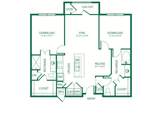 1,073 sq. ft. B2D Broadband floor plan