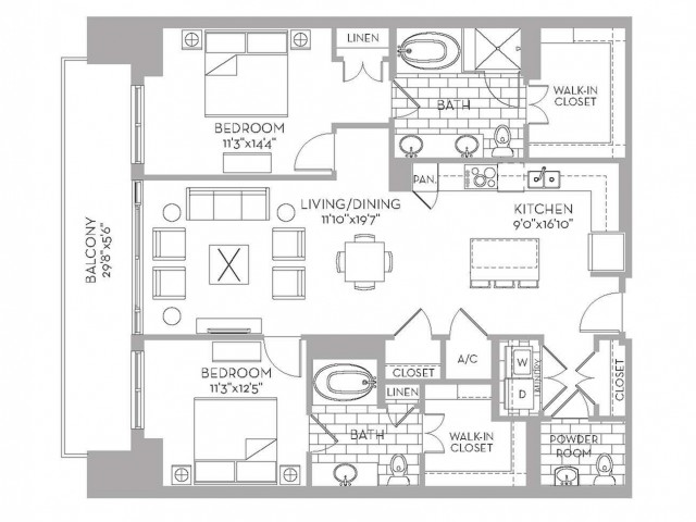 1,380 sq. ft. Douglas(B.3) floor plan