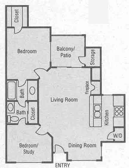 937 sq. ft. D1-D4 floor plan