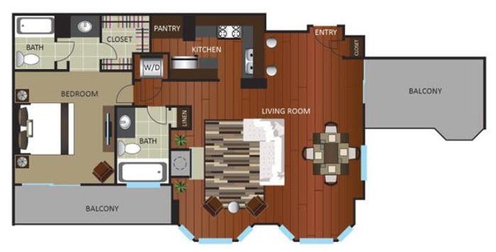 1,097 sq. ft. PNTHOUSE floor plan