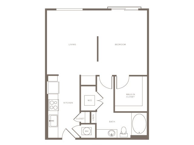 688 sq. ft. S2 floor plan