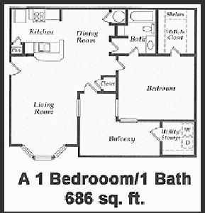 686 sq. ft. 60% floor plan