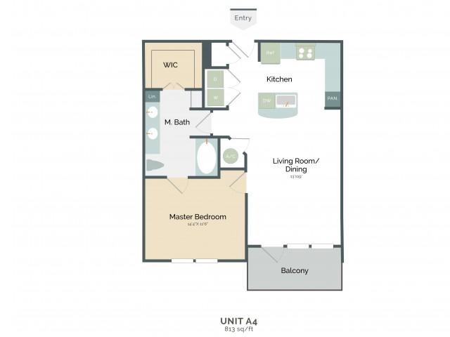 813 sq. ft. A4 floor plan