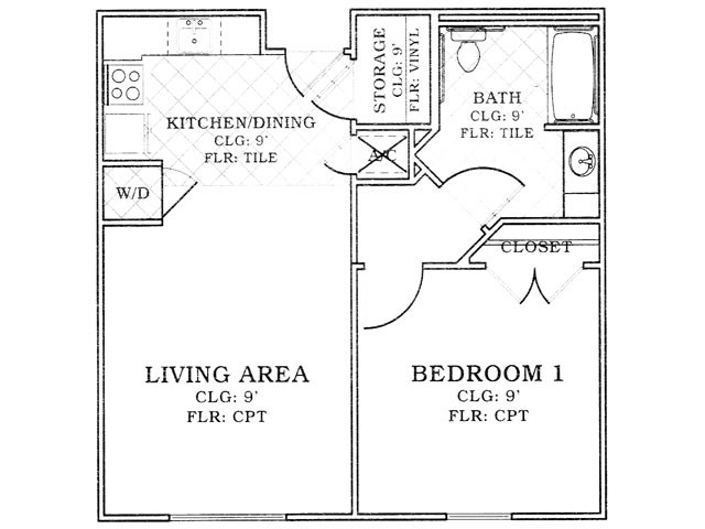 668 sq. ft. Mkt floor plan