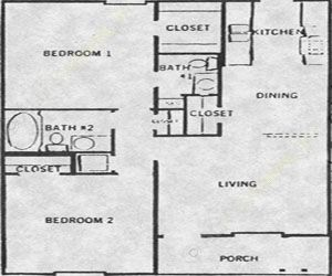 775 sq. ft. 50% floor plan