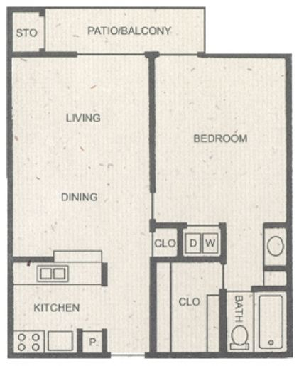 637 sq. ft. A floor plan