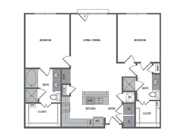 1,221 sq. ft. G floor plan