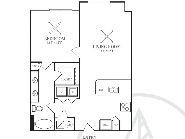738 sq. ft. A3V floor plan