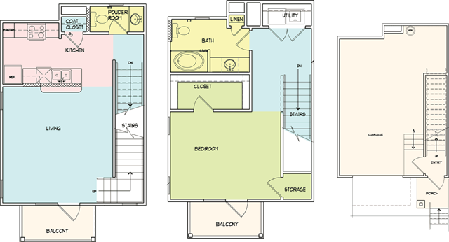 996 sq. ft. A5 floor plan