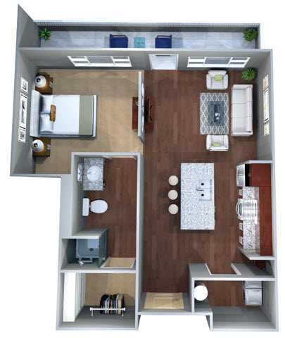 635 sq. ft. Eff A floor plan