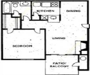 570 sq. ft. 1B1 floor plan