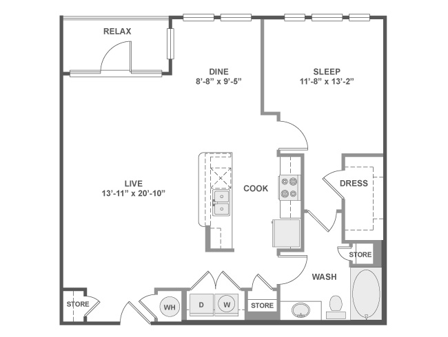 912 sq. ft. A5A floor plan