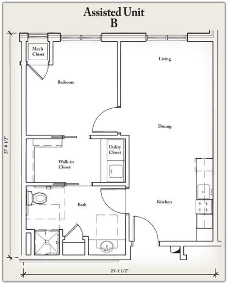 595 sq. ft. B floor plan