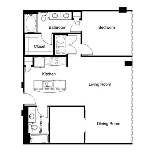 1,053 sq. ft. A5E-II floor plan