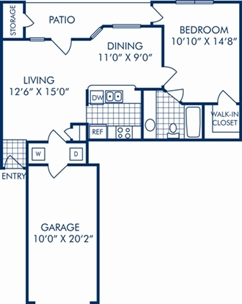 648 sq. ft. A2D floor plan
