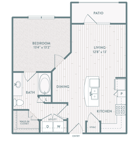 723 sq. ft. A5 floor plan