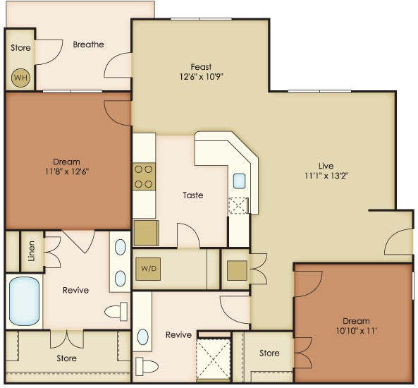 1,128 sq. ft. Estrella floor plan