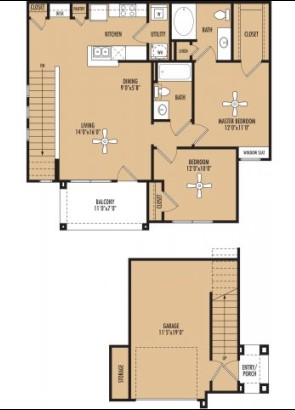 1,018 sq. ft. Fuerto c floor plan