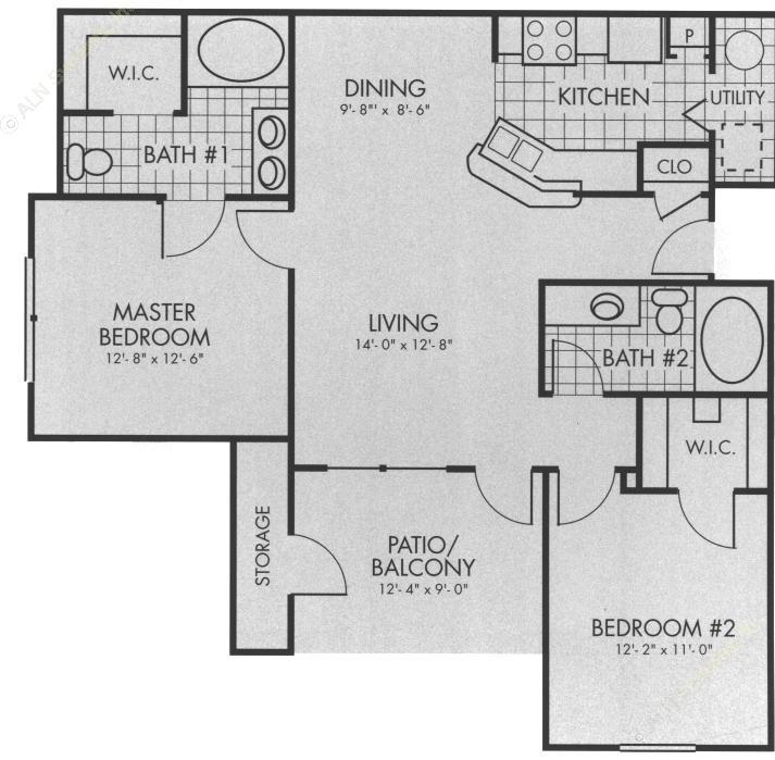 971 sq. ft. B2 floor plan