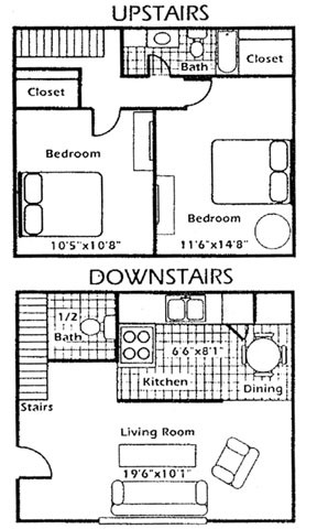 975 sq. ft. B3 floor plan