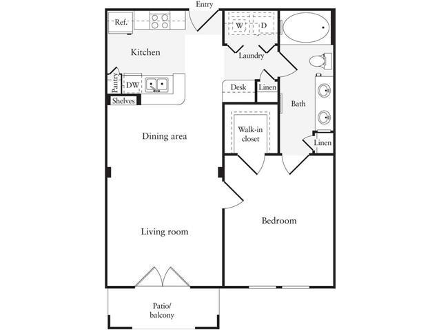 696 sq. ft. A3 floor plan