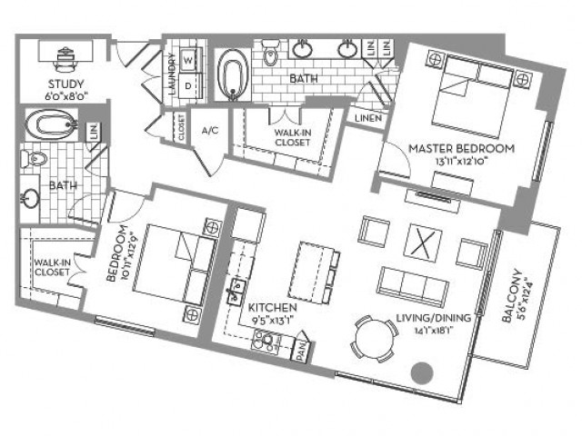 1,405 sq. ft. Royal(B.6) floor plan