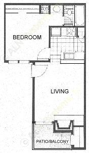 470 sq. ft. A1 floor plan