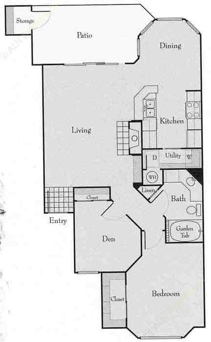 921 sq. ft. 1BD floor plan