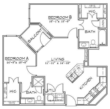 886 sq. ft. floor plan