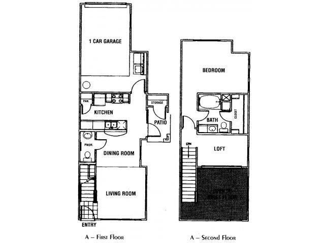 907 sq. ft. A1 floor plan