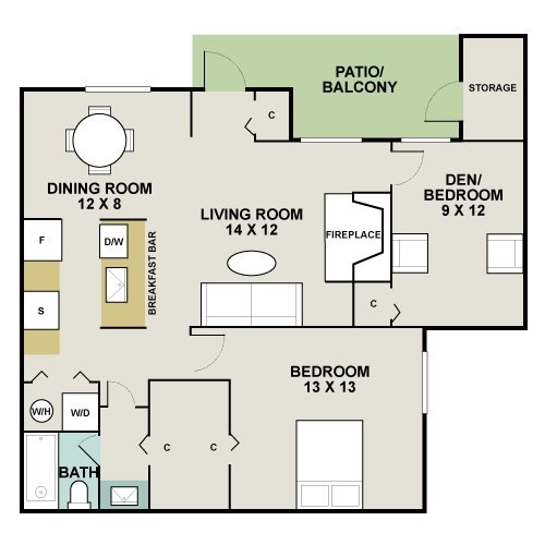 860 sq. ft. A3/Trinity Bend floor plan