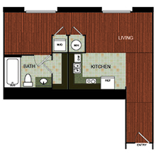 583 sq. ft. C2 floor plan