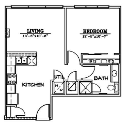 623 sq. ft. A3A floor plan