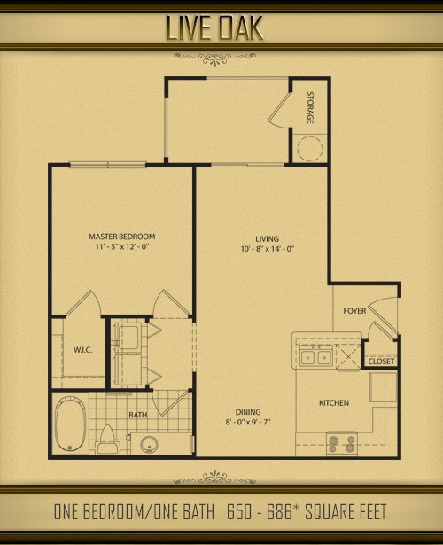 650 sq. ft. to 686 sq. ft. LIVE OAK floor plan