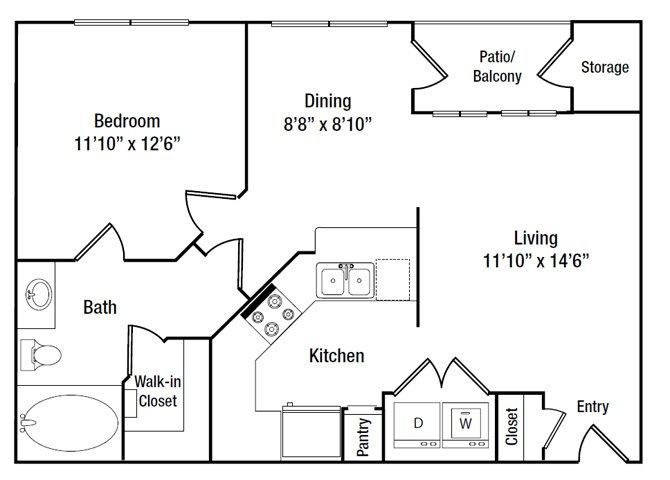 666 sq. ft. A1 floor plan