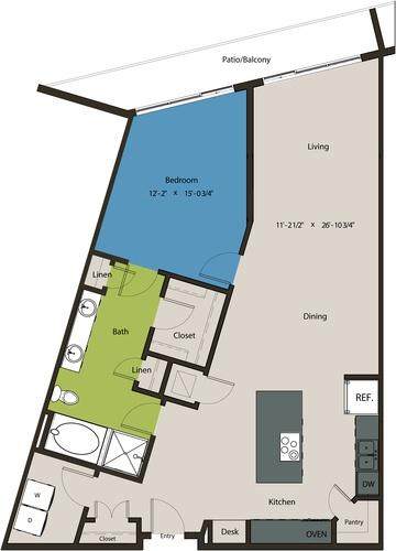 1,158 sq. ft. A12 floor plan