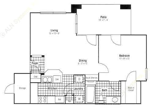 671 sq. ft. A4 floor plan