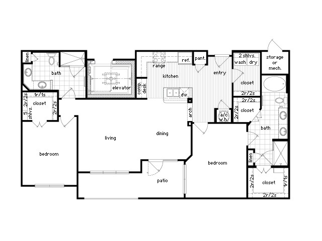1,381 sq. ft. B3a floor plan
