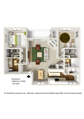 1,163 sq. ft. B4 floor plan