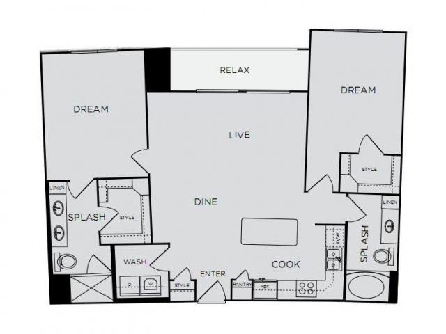 1,202 sq. ft. C1b floor plan