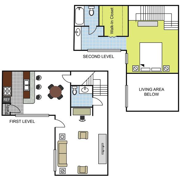962 sq. ft. A5 floor plan