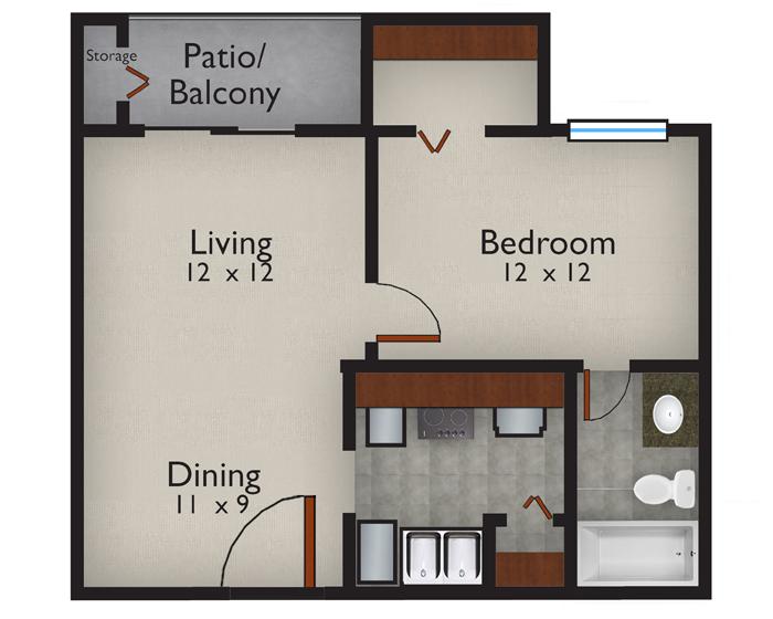 597 sq. ft. Carribbean floor plan