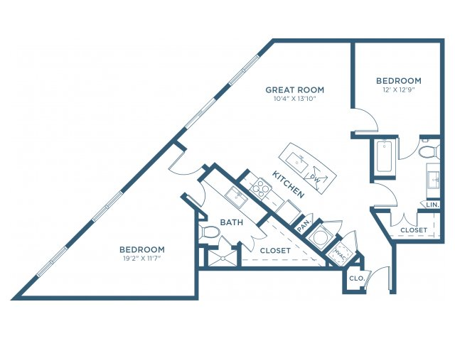 1,180 sq. ft. B8 floor plan