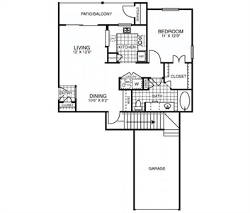 791 sq. ft. to 864 sq. ft. A2*GAR floor plan